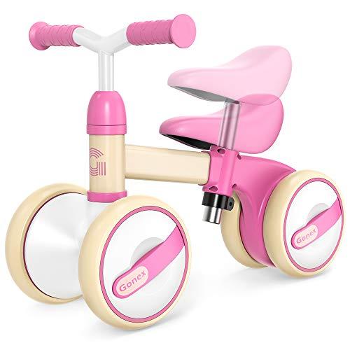 Gonex Kinder Laufrad Balance Lauflernrad Gehhilfe höhenverstellbar ab 1 Jahr Jungen Mädchen, Erst Baby Laufrad 4 Rädern Geschenk für 10-36 Monate (Rosa)