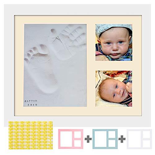 PITI COT Marco para Fotos y Huellas de Bebés-Kit de Letras Números y 4 Marcos de Colores-Arcilla para Modelado de Mano y Pie de Niño y Niña-Regalo Original para Bebè Recien Nacido Bautizo Primer Año