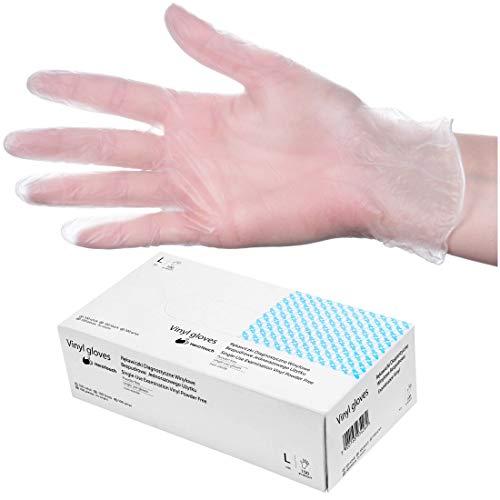 HeroTouch - Guanti monouso in vinile, senza polvere, 100 pezzi, misura L, in vinile trasparente, in pratica scatola dispenser, guanti usa e getta, 100% vinile