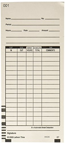 Lathem Time Cards, 2 Sided, Numbered 1-100, 100 per Pack, E7-100 (3.375