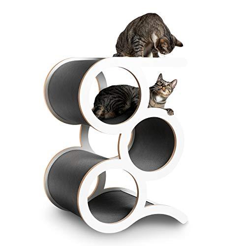 CanadianCat Company ® | Kratzmöbel Montreal mit 3 Ringen - Grauer Teppich - der Designer Kratzbaum für große Katzen