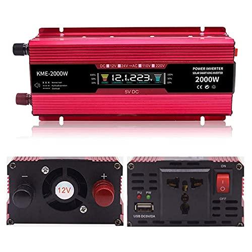 L-ROM Inversor de Coche, 12vto110v / 220v, 2000w, convertidor de Voltaje, Pantalla LCD, Apto para Coche, Caravana, Barco, Camping, Viajes,24v to 220v
