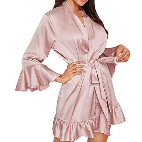Pyjama voor dames, sexy, lange mouwen, bandage, slaapkleding voor dames, slips, V-hals, ondergoed, roze