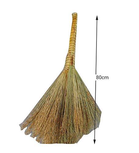 Sooiy Escoba Planta Natural Barrer el Piso Limpiar el Patio Patio Herramienta para Quitar el Polvo a la Antigua,80cm