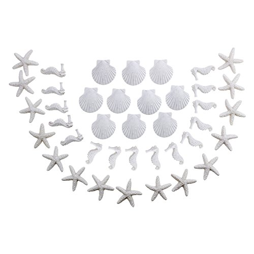 LJY 40 Pieces Mini 3cm White Resin Pencil Finger Starfish Seahorse & Seashells Set for Wedding Home Decor and Craft Project