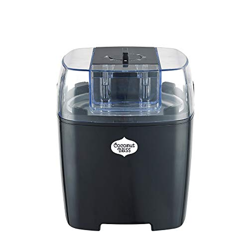 Coconut Bliss Ice Cream Maker | Easy Automatic Ice Cream Machine | Frozen Dessert Maker with Timer, Bowl + Recipe Book (Organic, Vegan, Non-Dairy, Plant-Based) | The Bliss Maker™ (Black) 1.5L
