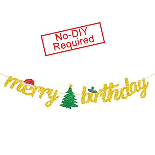 Merry Birthday Banner Gold Glitter-Christmas Birthday Party Decorations- Christmas Tree Christmas Hat Garlands for Xmas Birthday Decoration- Happy Birthday Bunting for Christmas Fireplace Mantle Home Decor