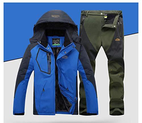 WEIYYY Outdoor Ski Suit Herren Winddicht Wasserdicht Thermal Snowboard Snow Ski Jacke und Hose Sets Wintersport Kleidung, Blaue Armee, XL