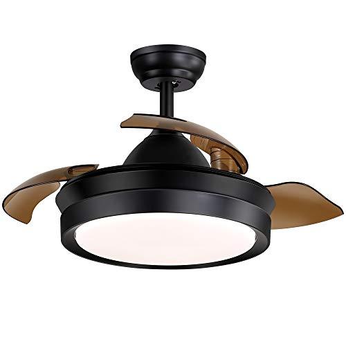 Ventilador de techo moderno de 42' con luz 4 cuchillas retráctiles ventiladores de techo 3 colores 3 velocidades araña de nido de pájaro con control remoto, motor silencioso con kits LED incluidos