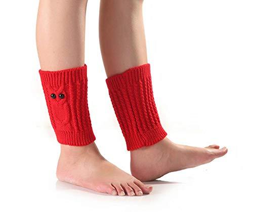 Nanxson Damen Winter Strick Stulpe kurz Beinstulpe Eule Muster Strumpf Beinlinge TTW0037 (Rot