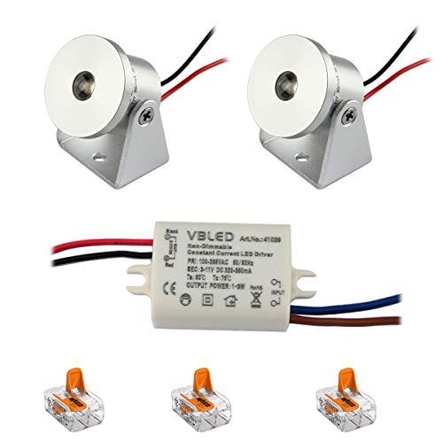 VBLED® 2er-Set 1W Mini Aufbau-Strahler Rotier- & Schwenkbar 80lm warmweiß IP20