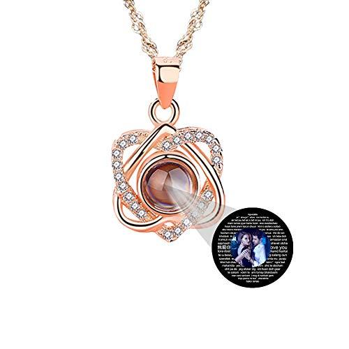 ASD Jewerly Individuell angepasste Foto-Halskette, 925 Sterling Silber Projektionskette in 100 verschiedenen Sprachen zum Muttertagsgeschenk(Roségold Vollfarbe 18)