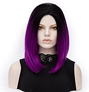 ATAYOU-WIG 2 Tones-color gradient Middle Length Bob Women Cosplay Synthetic Wigs (Black to Purple)