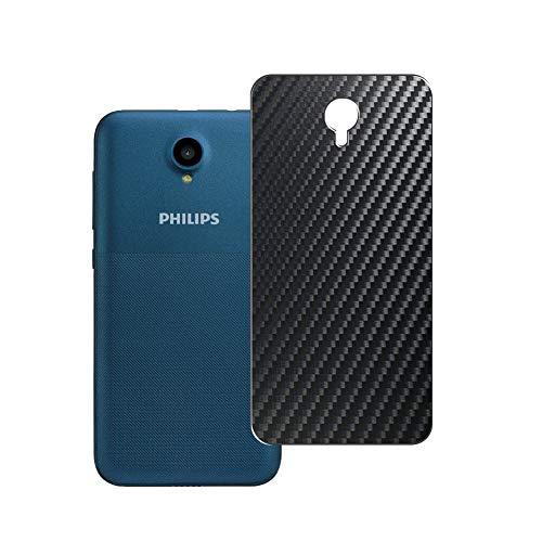Vaxson 2 Unidades Protector de pantalla Posterior, compatible con Philips S257, Película Protectora Espalda Skin Cover - Fibra de Carbono Negro
