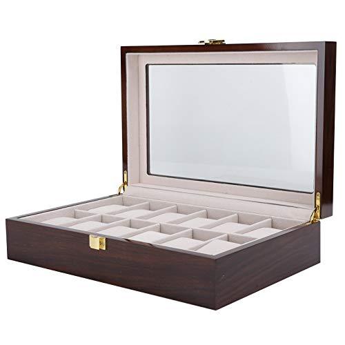 SALUTUYA Relojes de Pulsera Caja de Madera 12 Rejillas para Pulseras