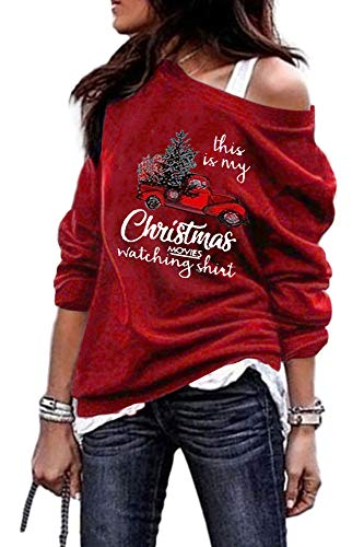 Pfvkeree Women's Christmas Shirts Off Shoulder Long Sleeve Casual Graphic Pullover Tees Tops Wine Red