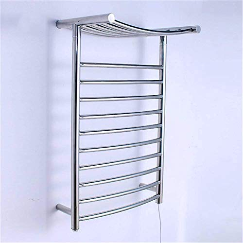 Calentador de toallas, Calentador de toallas, calentador de toallas y estallas de secado, toalla eléctrica de acero inoxidable con calefacción de 10 bar, montaje en pared con estante, espejo pulido, e