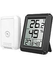 ORIA Digital Termómetro Higrómetro Interiores y Exteriors, Medidor de Humedad Temperatura con Sensor Exterior, Gran Pantalla LCD, Interruptor Habitación del Bebé, Bormitorio, Oficina - Negro