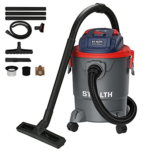 Stealth ECV05P1 Wet Dry Vacuum Cleaner, Shop Vacuum with Blower, 5 Gallon 5.5 Peak HP, Portable Shop Vacuum with Attachments