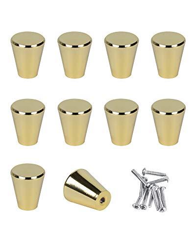SPDYCESS 10 st Låda Handtag i Aluminiumlegering Möbler Knoppar med Skruvar för Byrå Garderob Skåp Dörrhandtag Skåpdörrknut Möbelhandtag,Mässing