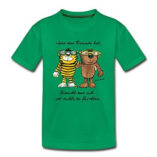 Janosch Tiger Und Bär Wenn Man Freunde Zitat Kinder Premium T-Shirt, 122-128, Kelly Green