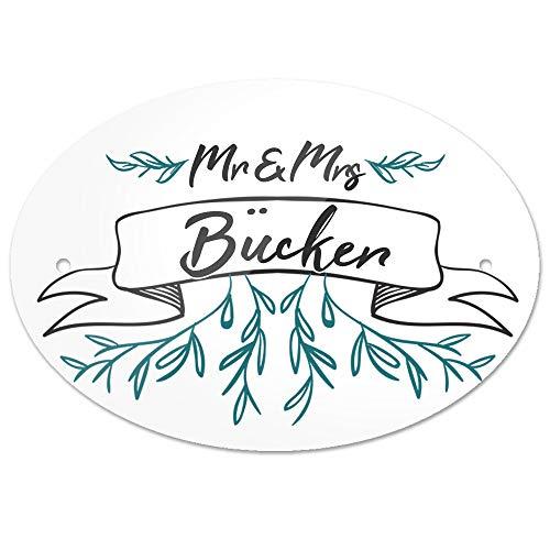 Eurofoto Türschild mit Nachnamen Bücker und Motiv - Mr & Mrs Bücker im Zeichenstil   für den Innenbereich   Klingelschild