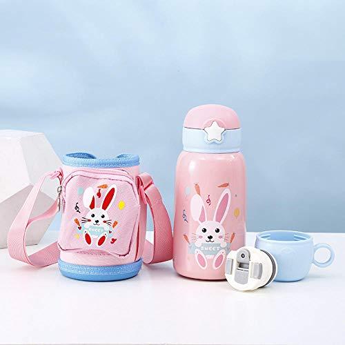 yrxh 316 Edelstahl Kinder Cartoon Isolationstopf mit Geldbörse Strohbecher tragbare rutschfeste Sportflasche-Pink Bunny_580ML