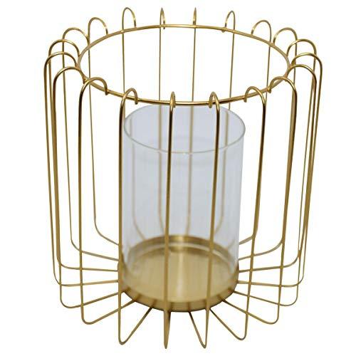Dadeldo Home Windlicht -Structure- Metall-Glas 13x14x14cm Gold Dekoration Teelichthalter
