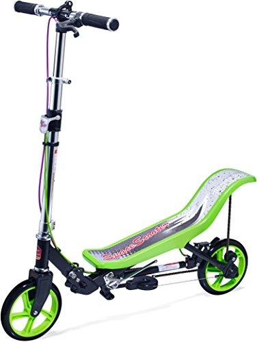 Space Scooter Premium X590, Grün, Tretroller mit Schwungrad, per Luftdruckdämpfer Angetriebener Roller mit Bremsen, Luftfederung, Einfache Faltbarkeit, für Kinder ab 8 Jahren, Grün/Schwarz