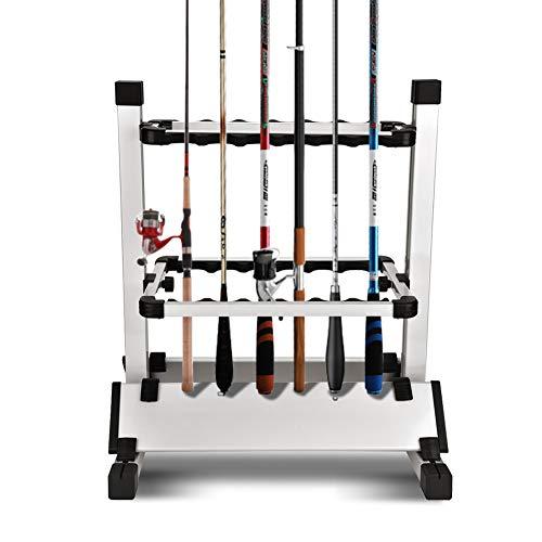 Ejoyous Angelrutenhalter für 12 Angelruten, Aluminium Doppelseitiges Design Rutenständer Angelrute Ständer Stützständer mit Stabile Basis für die meisten Angelruten 44,5 x 50 x 32,5 cm