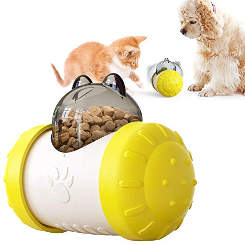 LUCKY KVW Cat Puzzle Toy Dog and Cat Food Dispensing Toys Dog Enrichment Toys Dog Puzzle Toy Cat Slow Feeder Pet Treat Ball Pet Treat Leakage Slow Feeder Puzzle Toy Exercise IQ Improving (Yellow)