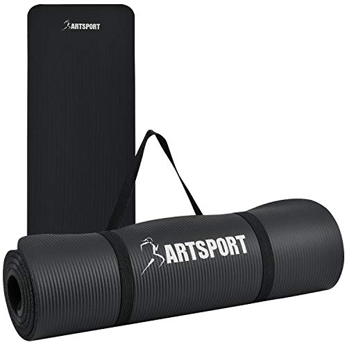 ArtSport Gymnastikmatte rutschfest & gelenkschonend – Yogamatte 185 x 60 cm groß – extra 1,5 cm Dicke – Fitnessmatte – Yoga Pilates & Fitness - schwarz