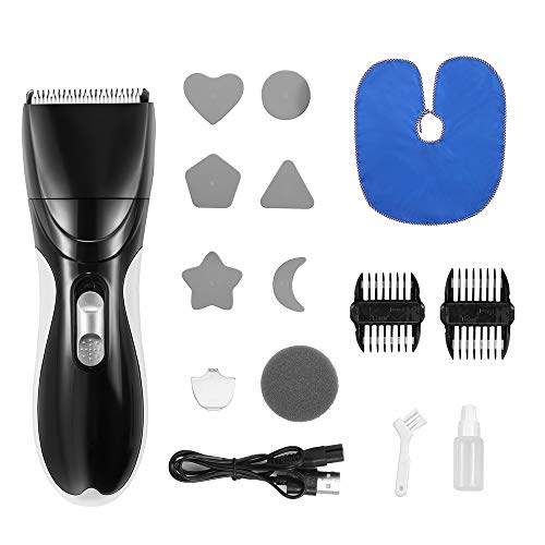 Baby Hair Clipper Silent Haircut Trimmers,Electric Cordless Hair Trimmer with 2 Guide Combs Cordless Rechargeable Waterproof Hair Cutting Kit for Kids Infants Toddler Boys (Black)
