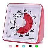 Ainowes Minuteur visuel, compte à rebours silencieux de 60 minutes pour enfants et adultes, outil de gestion du temps pour cuisine, salle de classe, auto-étude, pas de tic-tac fort (Rouge)