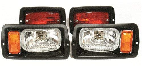 GOLF CART CLUB CAR DS HEADLIGHT (7'x4') AND TAILLIGHT KIT BLACK BEZELS