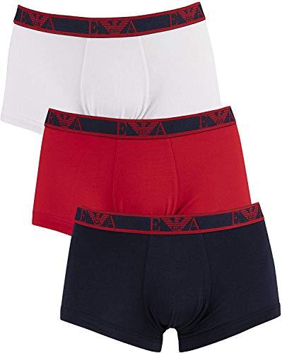 Emporio Armani Underwear Herren Multipack - Monogram 3-Pack Trunk Badehose, Blau (Marine/Rosso/Bianco 66535), XX-Large (Herstellergröße:XXL)