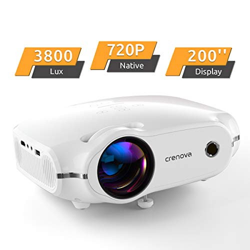 Crenova Mini Projector, Native 720P HD Video Projector, Upgraded 3800 Lux Portable Outdoor LED Home Movie Projector with 200' Projection Size, Compatible with iPhone/iPad/TV/HDMI/VGA/AV/USB/TF SD Card