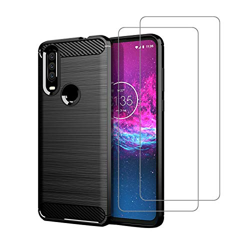 Avesfer for Motolora Moto One Action Case with Tempered Glass Screen Protector Resilient Soft TPU Cover Anti-Slip Shock-Proof Scratch Resistant Carbon Fiber (Black)