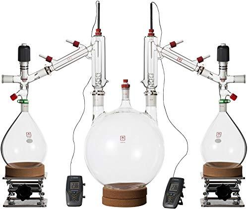 Across International Clear10v Ai 10 L Short Path Distillation Kit with 2Lx2 Receiving Flasks, Glass
