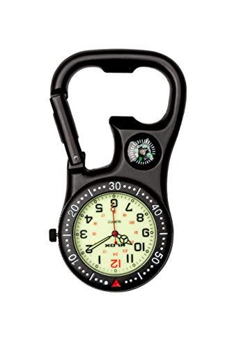 Klox Unisex-Uhr Kompass-Flaschenöffner Analoge Quarzbewegung mit Schwarz Einclipsen Karabiner K-FOB