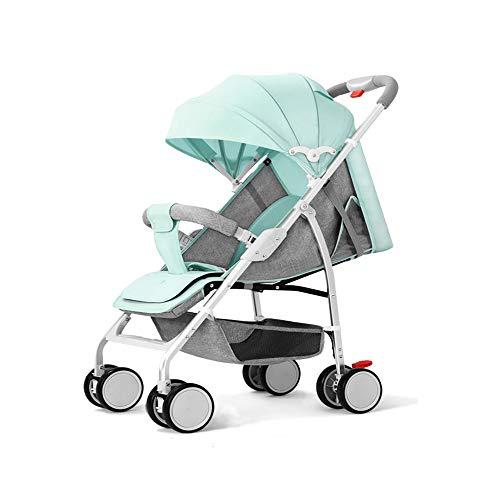 N / A Cochecito de bebé, Ligero, fácil de Plegar, Compacto, de Viaje, Cesta de la Compra con Gran Espacio, para Cochecito de niño pequeño, añadir Cubierta de Red, Verde