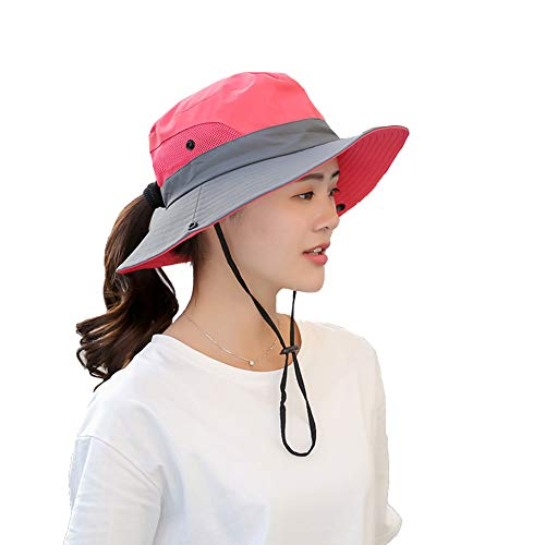 Womens UV Protection Wide Brim Sun Hats - Cooling Mesh Ponytail Hole Cap Foldable Travel Outdoor Fishing Hat Rose