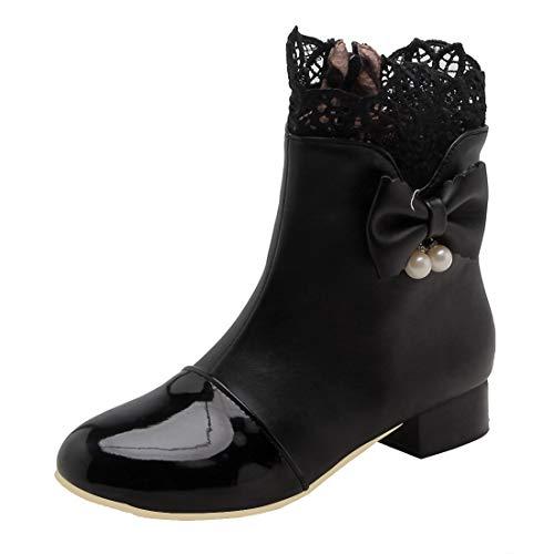 MISSUIT Damen Flache Ankle Boots mit Spitze und Schleife Stiefeletten Rockabilly Kurzschaft Stiefel Reißverschluss(Schwarz,41)