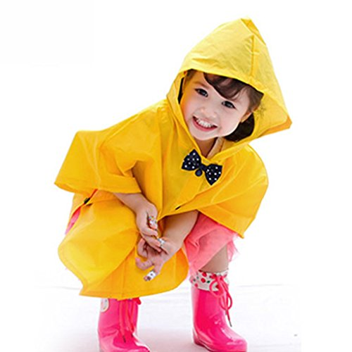 Vestes anti-pluie QFF Child Raincoat Baby Raincoat Poncho Lovely Bow Tie Protection de l'environnement Boys and Girls No Smell Rain Gear (Couleur : Le Jaune, Taille : L)