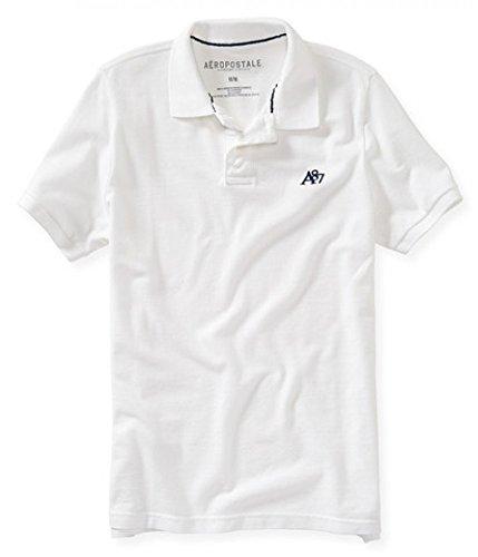 AEROPOSTALE Men's Solid Uniform Logo Polo Shirt Medium White 102a