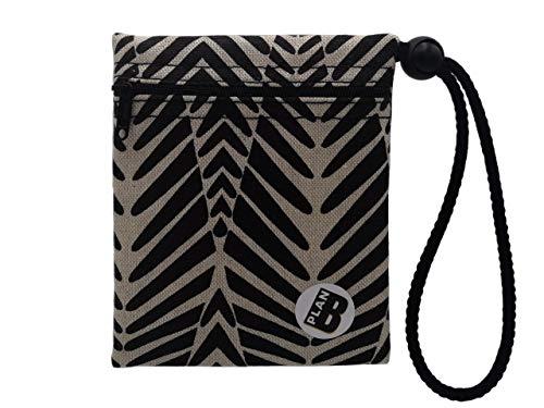 Plan B, Bolsa Porta Mascarilla, Cebra, 12 X 14 cm, 1 Cremallera, Asa Ajustable, Rayas Blancas y Negras