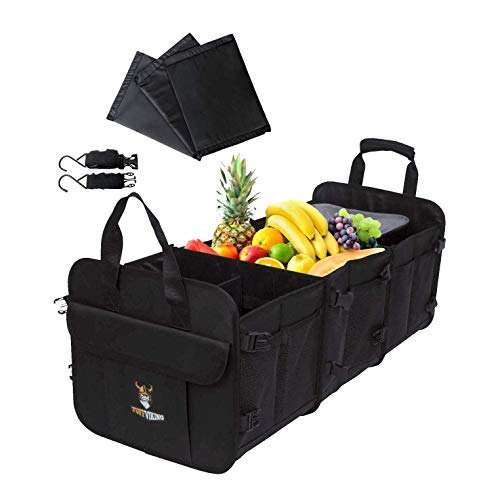 Tuff Viking Convertible Large Trunk Organizer with Built-in Insulated Leakproof Cooler Bag - 3 Compartments, Easy to Clean (5-in-1, Black)