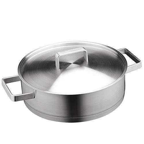 Cookware, Dik 304 roestvrij staal, Extra Dik smeden, Platte bodem Koekenpan, 28cm, niet-gecoat, binaurale voorraad, Grote Warmteopslag