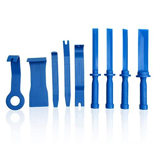 CCLIFE 9tlg Auto Zierleistenkeile Kunststoffschaber Set, 19-22 - 25-38 mm Klebegewichte Entferner Auto Demontage Werkzeuge