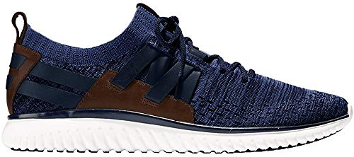 Cole Haan Men's Grand Motion Woven Stitchlite Sneaker, Navy Ink/Peony Knit/British Tan/Optic White, 10.5 M US